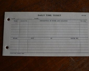 6 Vintage Pages of Daily Time Ticket