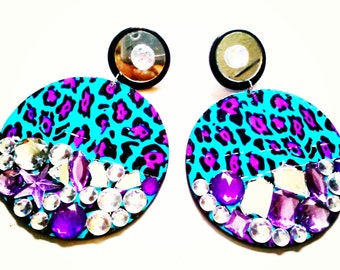 turq/purp animal print earrings
