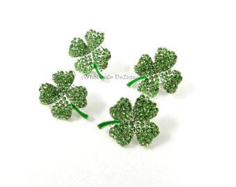 Four Leaf Clovers - Green Rhinestone Embellishments - Metal - Saint Patrick's Day Shamrock Button - With Loop Back 20mm