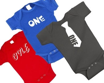 one year old one piece bodysuit creeper or t shirt 1st birthday - cute adorable baby boy