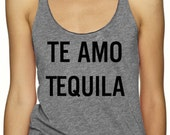 Te Amo Tequila Tank Top, Triblend Vegan Tank, Racerback, Level Apparel, Alcohol Tank Top Tequila and Tacos