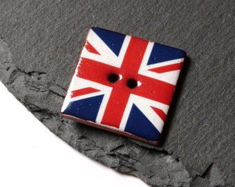 Square Ceramic Button With Union Jack Pattern