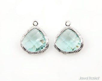 Erinite Glass and Silver Plated Frame Pendant - 2pcs Erinite Color Glass Pendant in Gold Frame / 13mm x 16mm / SERS051-P
