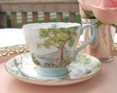 Vintage Teacup Set Shelley Tea Cup & Saucer Fine Bone China Woodland Watercolor Blue and Green  England  Mid Century Tea Party Cottage Chic