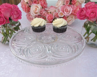 Vintage Glass Cake Stand Cake Plate Pedestal Stand with Hobstars and Sawtooth Edges Vintage Wedding Cake Stand