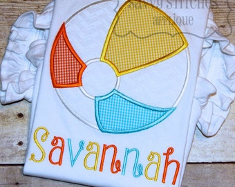Beach Ball Machine Embroidery Applique Design