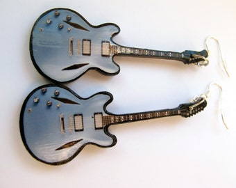 Blue guitar earrings