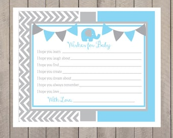 Sweet Elephant Baby Wishes Baby Shower Game PDF Instant Download- Baby Shower Games