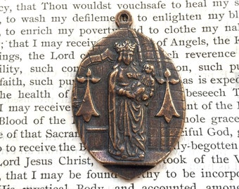 Mary Medal - Catholic Medal - Bronze or Sterling Silver - Religious Medal - Vintage Medal Replica (M-1053)
