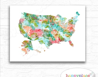 Large and bright Family Travel Map USA map with States and