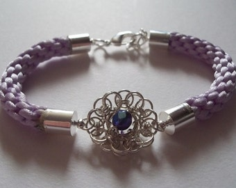 Purple Kumihimo Bracelet with Chainmaille Mandala Embellishment