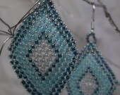 "Native American style Brick Stitch Earrings, using Aqua blue, white and lined turquoise Miyuki Seed Beads.  1 1/2"" long by 1"" wide"