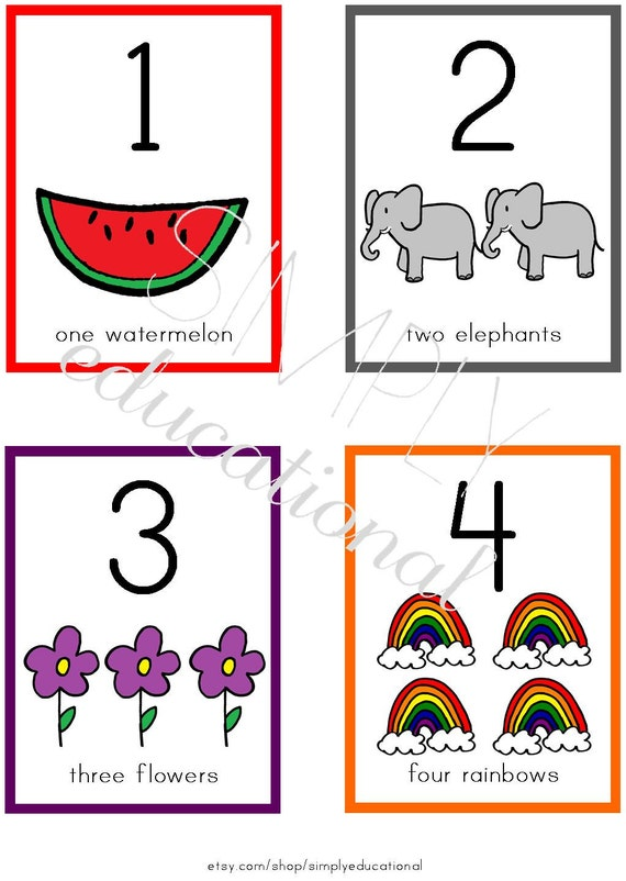 Printable Number Flashcards 1-10 by SimplyEducational on Etsy