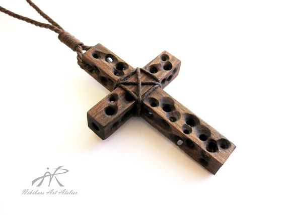 Wooden Cross Necklace Walnut Wood Cross Necklace Abstract