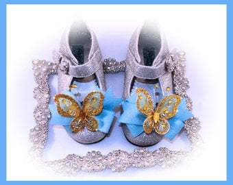 Shoe Bow Clips, Butterfly Shoe Bow Clips, Girl Shoe Bow Clips, Toddler Shoe Bow Clips, Photo Prop