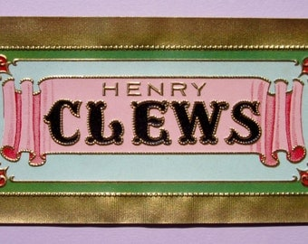 Vintage Original Cigar Label Henry Clews Brand Embossed with Metallic Gold Border, Bright Pink and Green Colors for Decoupage or Scrapbooks