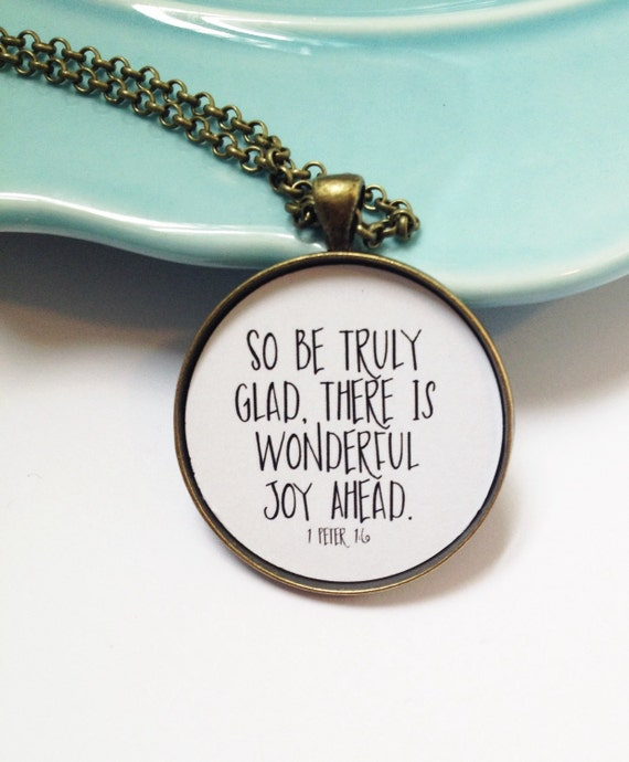 1 Peter 1, There is Wonderful Joy Ahead, Bible Verse Necklace, Christian Necklace, Choose Joy, Best Friend Necklace, Wife Birthday Gift