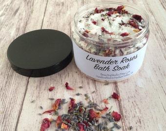 Organic Luxurious Lavender Roses Bath Soak Salt 12 oz