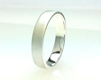 Sterling Silver Flat Wedding Band 5mm Hard Brushed All Us Sizes