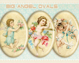 Vintage angel ovals Printable digital ovals on Digital collage sheet