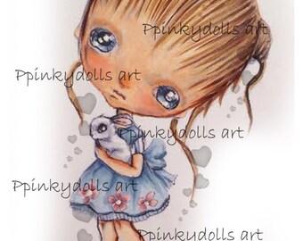 INSTANT DOWNLOAD Digital Digi Stamps..by Chrishanthi's art,A bunny friend.