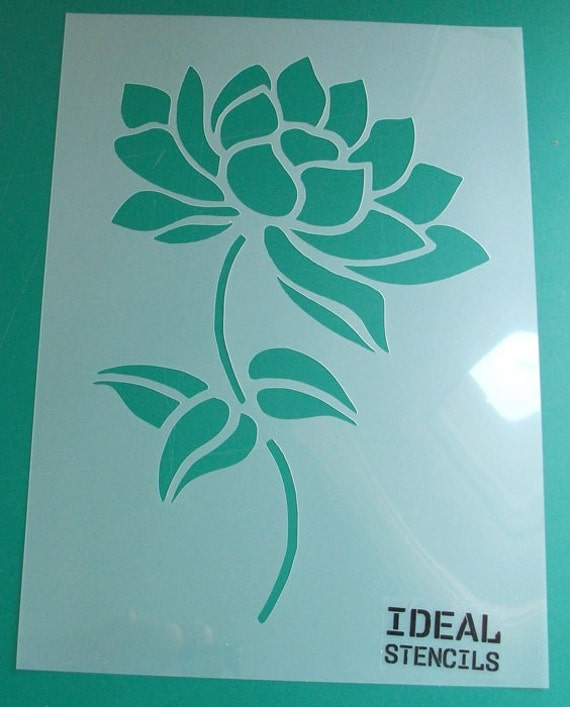Lotus flower art stencil floral stencil home decor stencils for Watercolor painting templates free