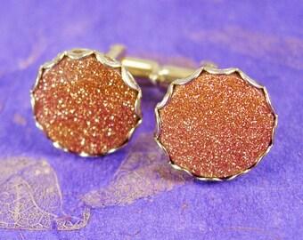 Vintage GOLDSTONE Cufflinks gold Spiritual energy mens gold cuff links accessory