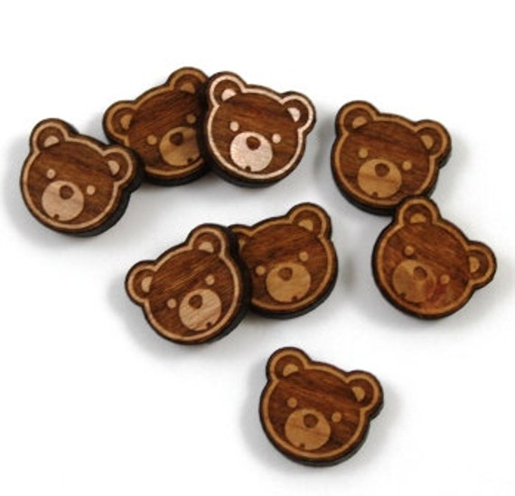 Laser Cut Supplies-8 Pieces.Teddy Bear Charms-Laser Cut Wood Bear Shapes-Jewelry Supplies-Little Laser Lab.Online Laser Cutting Australia