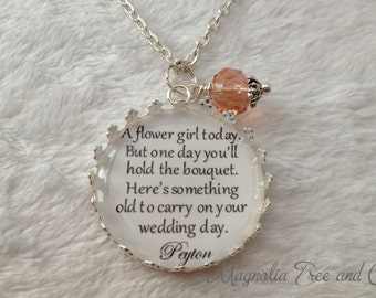 Flower Girl Necklace, Bridesmaid Necklace, Bridal Pendant Charm, Flowergirl Gift, Personalized, Bouquet Charm, Custom Name, One Day... KE04