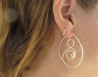 Large Spiral Hoop Earrings, Silver Hoop Earrings, Wire Weave,  Wire Hoops,