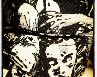 The Walking Dead Fabric Wrapped Nylon Dog Collar: Fabric Features Black & White Zombies