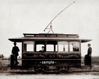 Electric Trolley of the East & West Line, Richmond, Virginia - circa 1890 - Vintage Photo Print, Ready to Frame!