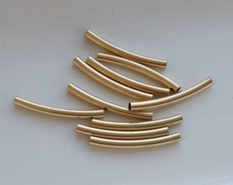 10 Pieces 14k Gold Filled Curved Tube Noodle Beads 2mmx24mmx 1mm hole