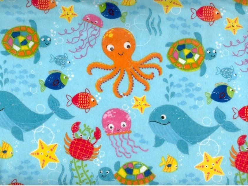 Sea creature flannel fabric an ocean of fish whale octopus for Children of the sea fabric