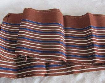 Vintage Japanese Obi Sash Belt Kimono Yukata Brown Blue White Stripes