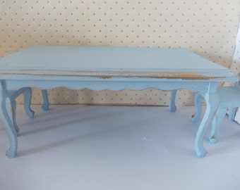 Dolls house miniature rectangular dining table in the in Blue and Gold