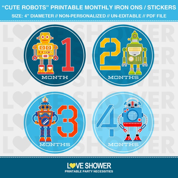 Cute robots printable monthly stickers or iron on transfers do it il570xn solutioingenieria Image collections