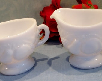 Della Robbia by Westmoreland Milk Glass Creamer and Sugar