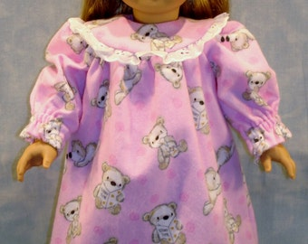 Teddy Bears on Pink Nightie and Slippers made to fit 18 inch dolls