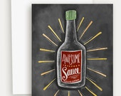 Awesome Sauce - Congratulations Card - Graduation Card - Chalk Art - Hand Lettered Card