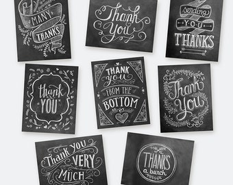Boxed Set of 8 Hand Lettered Thank You Cards - Chalkboard Thank You Cards - Black and White Thank You Cards