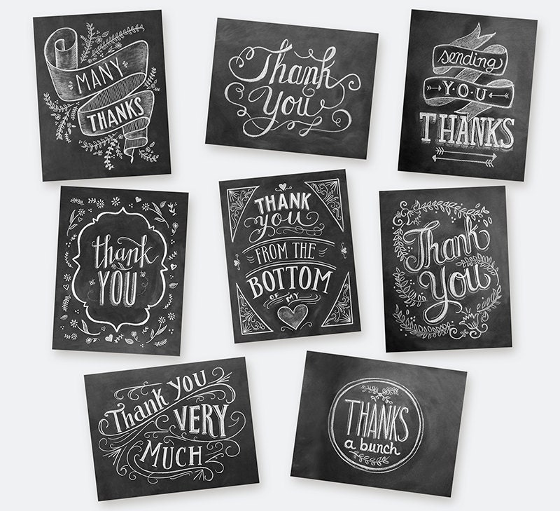 Boxed Set of 8 Hand Lettered Thank You Cards by LilyandVal