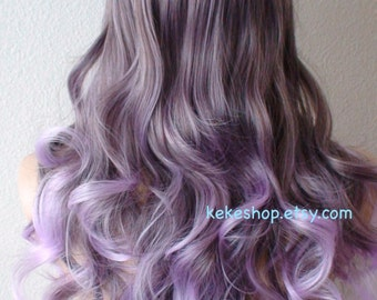 Lavender Ombre wig. Long curly  hair long side bangs durable Heat resistant Fashion hairstyle wig for Cosplay or Daytime use.