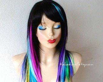 Rainbow wig. Black straight hairstyle with rainbow color wig. One of kind Unique hairstyle wig.