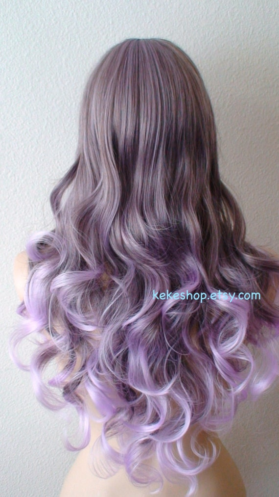 Lavender Ombre Wig Long Curly Hair Long Side Bangs Durable