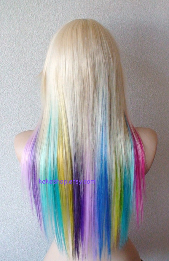 Items Similar To Rainbow Wig Blonde Hair Rainbow Ombre