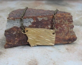 Montana state necklace textured brass gift ideas for her Swarovski crystal gift ideas for her