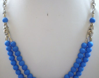 Cobalt Blue Rubberized Jade Bead Double Strand Necklace with Antique Silver Ornate Caps and Beads