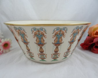 Vintage Hand Painted Lenox Lido Salad Bowl or Serving Bowl with 24K Gold