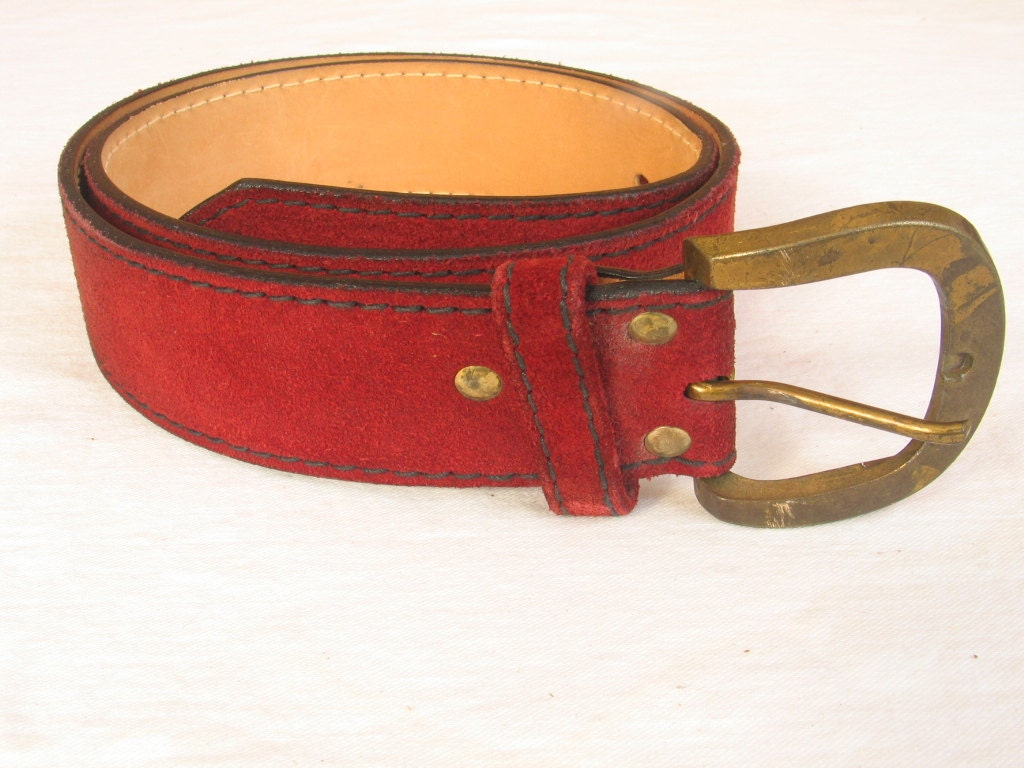 Vintage Burgundy Suede Women S Belt By Canterbury 34